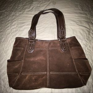 Tignanello brown suede large tote handbag purse